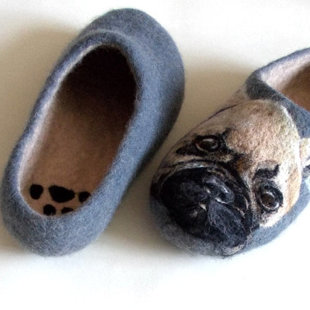 French bull dog portrait wool felted slippers